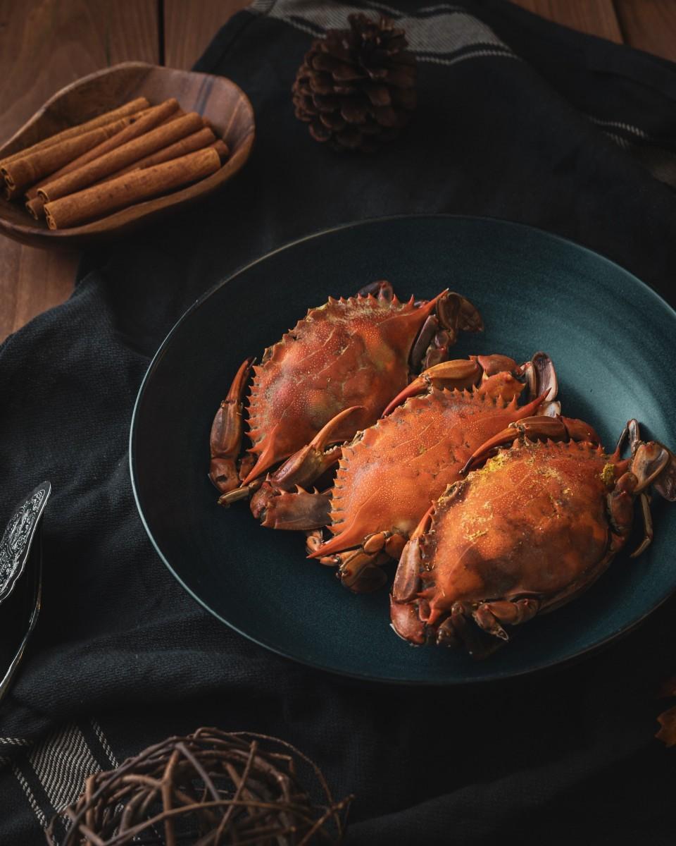 Nécoras y cangrejos servidos para comer.