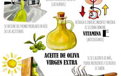Aceite de oliva virgen extra (AOVE) Ilustración de @evablue.